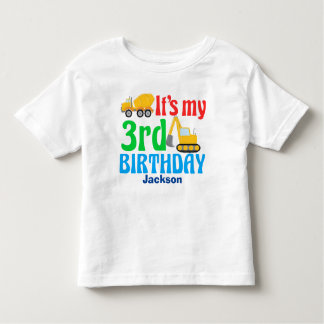 3rd Birthday Kids Construction Vehicle Party Toddler T-shirt