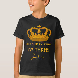 3rd Birthday King Custom Name Royal Crown W003Z T-Shirt