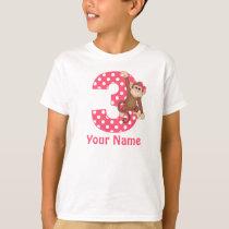 3rd Birthday Monkey Girl Personalized Shirt