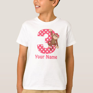 3rd Birthday Monkey Girl Personalized Shirt