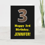 "[ Thumbnail: 3rd Birthday: Name, Faux Wood Grain Pattern ""3"" Card ]"