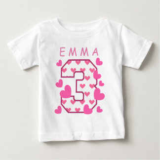 3rd Birthday One with Hearts Custom Name A04 Baby T-Shirt