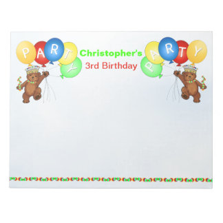 3rd Birthday Party Bear Games Notepad