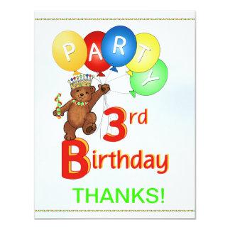 3rd Birthday Party BearThank You Card