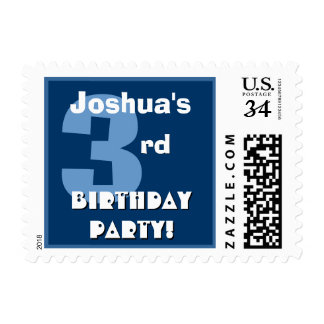 3rd Birthday Party Big Bold Blue and White B322 Postage
