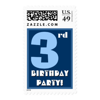 3rd Birthday Party Big Bold Blue and White Postage Stamps
