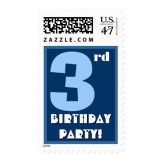3rd Birthday Party Big Bold Blue and White Stamp