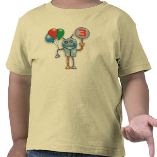 3rd Birthday Party Cute Glossy Robot Toddler Shirt