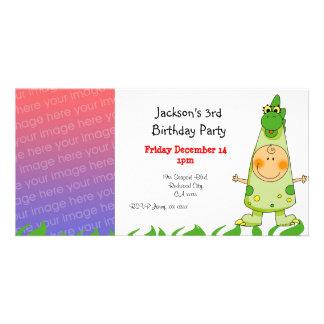3rd birthday party invitations ( dragon costume )
