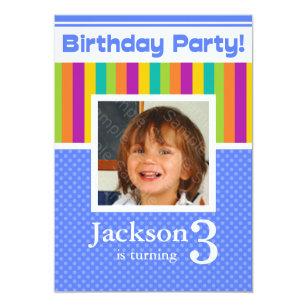 3rd Birthday Party Invitations Fun Neon Boy