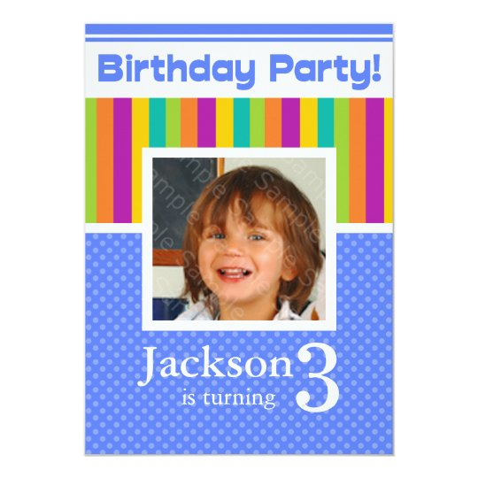 3rd Birthday Party Invitations Fun Neon Boy