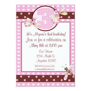 3rd Birthday Party Pink Dot Dragonfly Girls Invite
