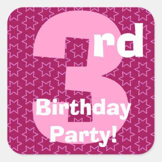 3rd Birthday Party Pink Stars B351 Square Sticker