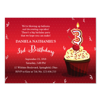 3rd Birthday Party - Red Velvet Cupcake 4.5x6.25 Paper Invitation Card