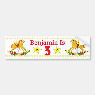 3rd Birthday Party Rocking Horse Bumper Sticker