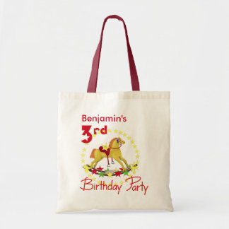 3rd Birthday Party Rocking Horse Tote Bag