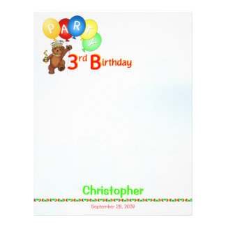 3rd Birthday Party Royal Bear Scrapbook  Paper 1