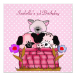 3rd Birthday Party Spot Cats Dogs friends 13 Cm X 13 Cm Square Invitation Card