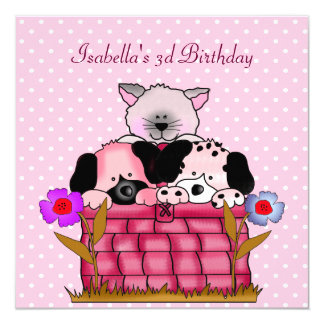 3rd Birthday Party Spot Cats Dogs friends Invitation