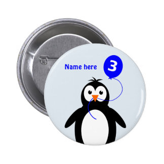 3rd birthday penguin add name blue pinback button