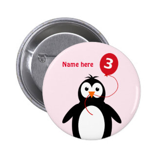 3rd birthday penguin add name pink button
