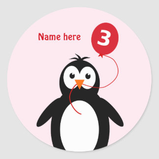 3rd birthday penguin add name pink classic round sticker