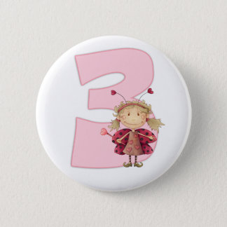 3rd birthday pinbadge , ladybird fairy pinbadge pinback button