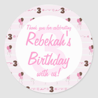 3rd Birthday Pink Balloons and Swirls Thank You Classic Round Sticker