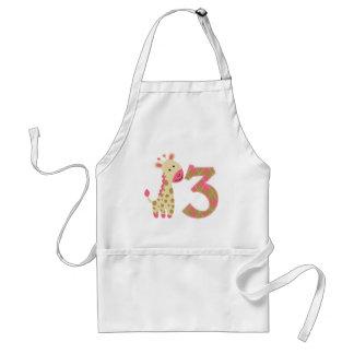 3rd Birthday Pink Giraffe Aprons