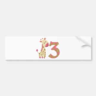 3rd Birthday Pink Giraffe Bumper Sticker