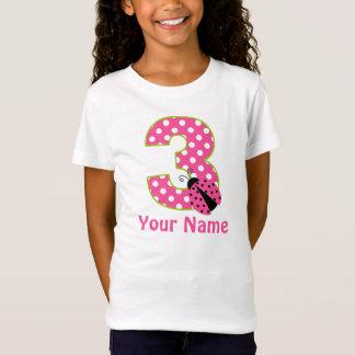 3rd Birthday Pink Green Ladybug Personalized Shirt