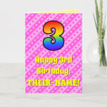 [ Thumbnail: 3rd Birthday: Pink Stripes & Hearts, Rainbow # 3 ]