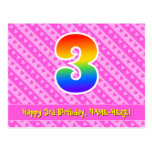[ Thumbnail: 3rd Birthday: Pink Stripes & Hearts, Rainbow 3 Postcard ]