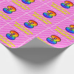 [ Thumbnail: 3rd Birthday: Pink Stripes & Hearts, Rainbow # 3 Wrapping Paper ]