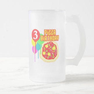 3rd Birthday Pizza Birthday Frosted Glass Beer Mug
