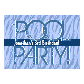 3rd Birthday Pool Party Blue Zebra Waves Template Card