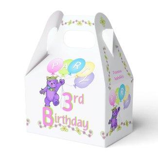 3rd Birthday Princess Bear Custom Favor Box