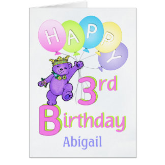 3rd Birthday Princess Bear, Custom Name Greeting Card