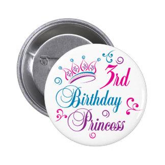 3rd Birthday Princess Pins
