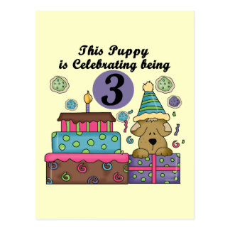 3rd Birthday Puppy T-shirts and Gifts Postcard