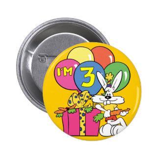 3rd Birthday Rabbit Buttons
