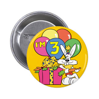 3rd Birthday Rabbit Pinback Button