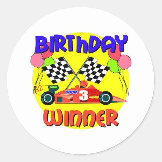 3rd Birthday Race Car Birthday Classic Round Sticker