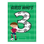 3rd Birthday Red and Blue Soccer Goal Invitation