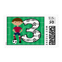 3rd Birthday Red and Blue Soccer Goal Postage