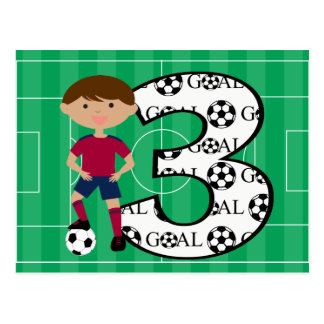 3rd Birthday Red and Blue Soccer Goal Postcard