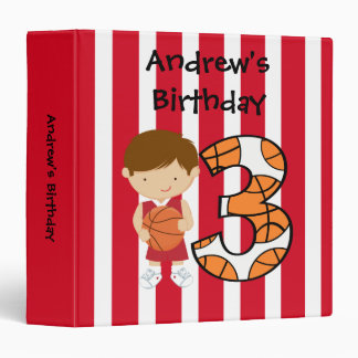 3rd Birthday Red and White Basketball Player Binders