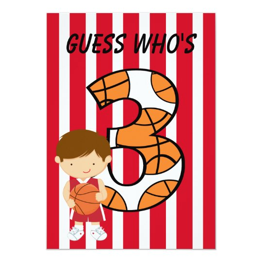 3rd Birthday Red and White Basketball Player Card