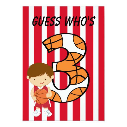 3rd Birthday Red and White Basketball Player Invite