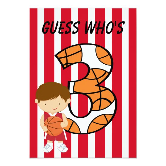 3rd Birthday Red and White Basketball Player Invitation